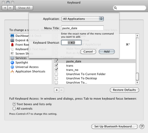 Keyboard shortcut command window