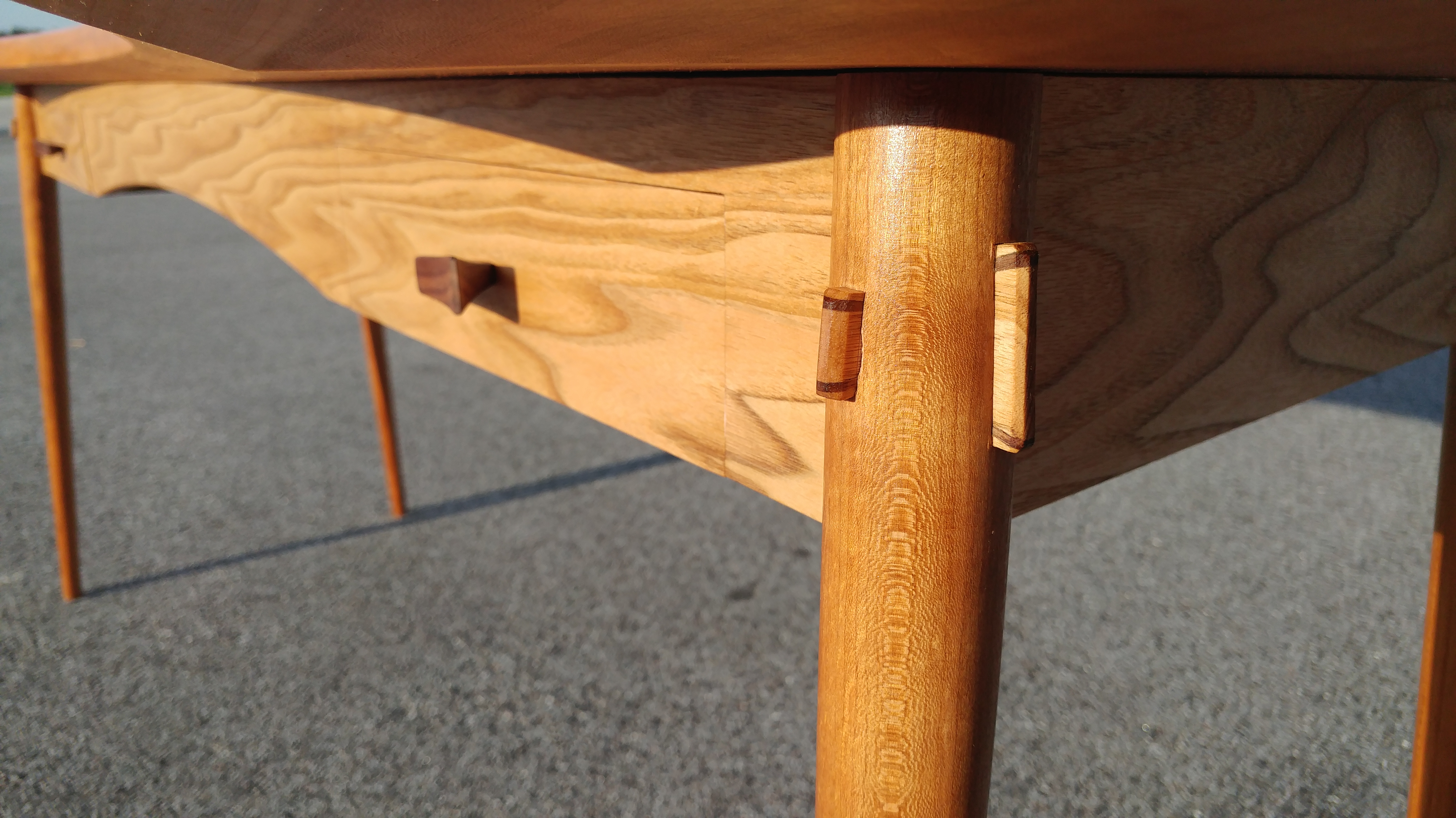 Leg joinery detail on finished desk