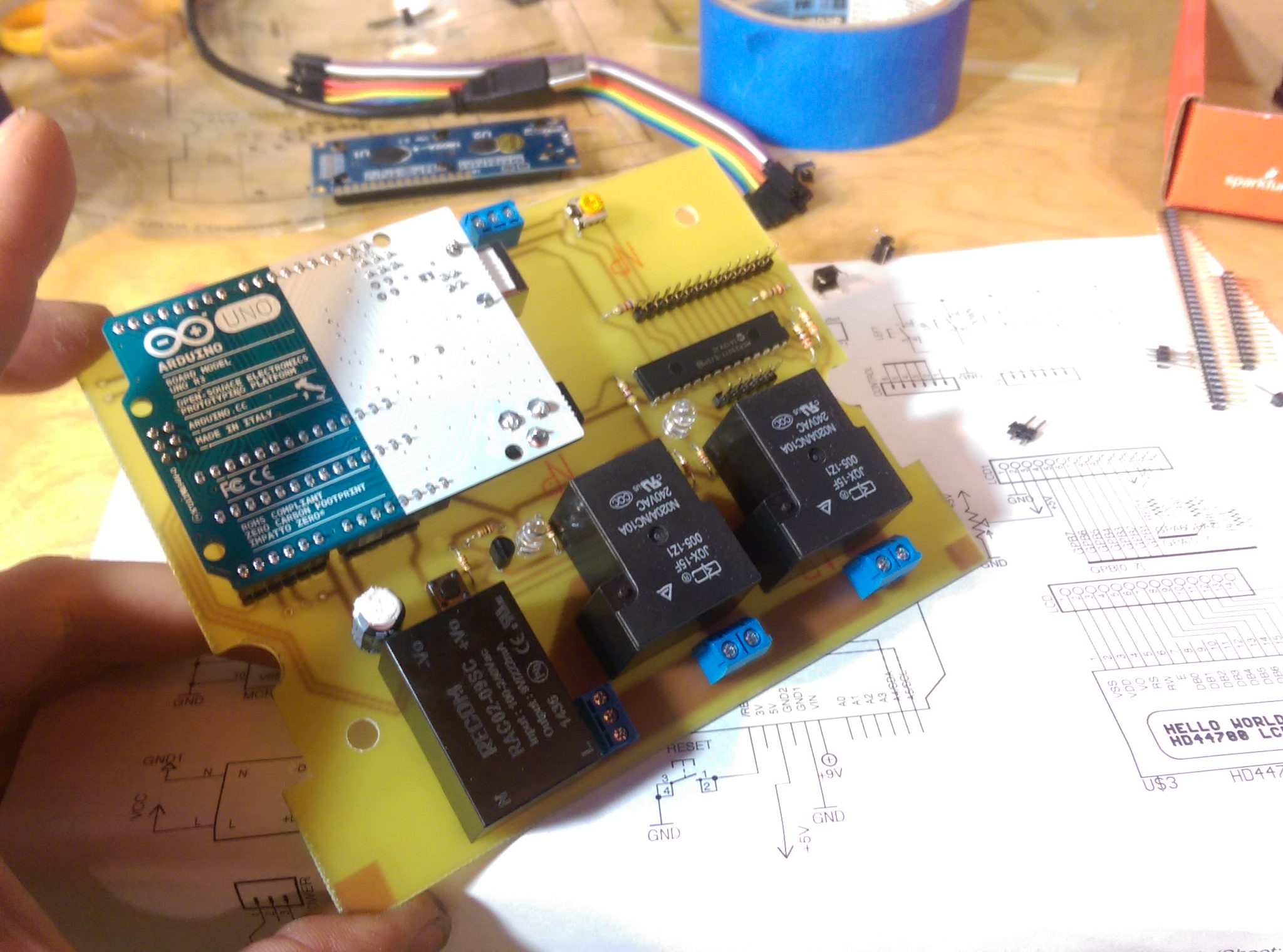 components soldered on the board
