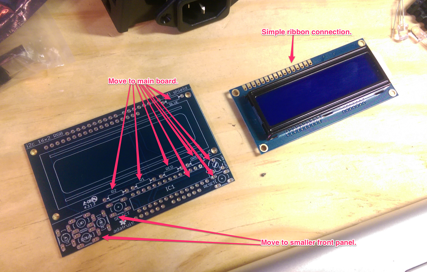 which parts will get moved on the lcd board
