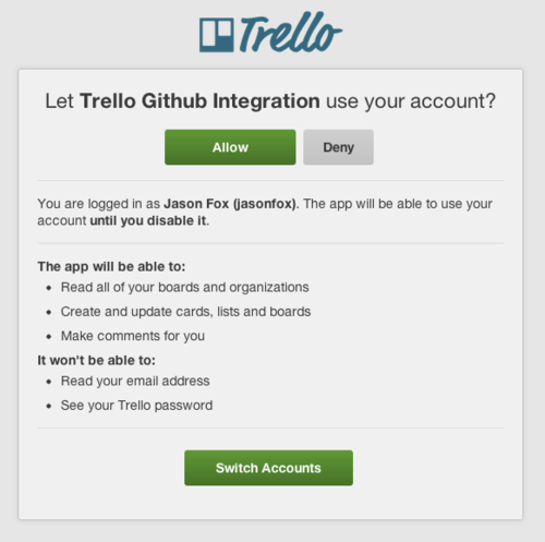 Trello authorization screen