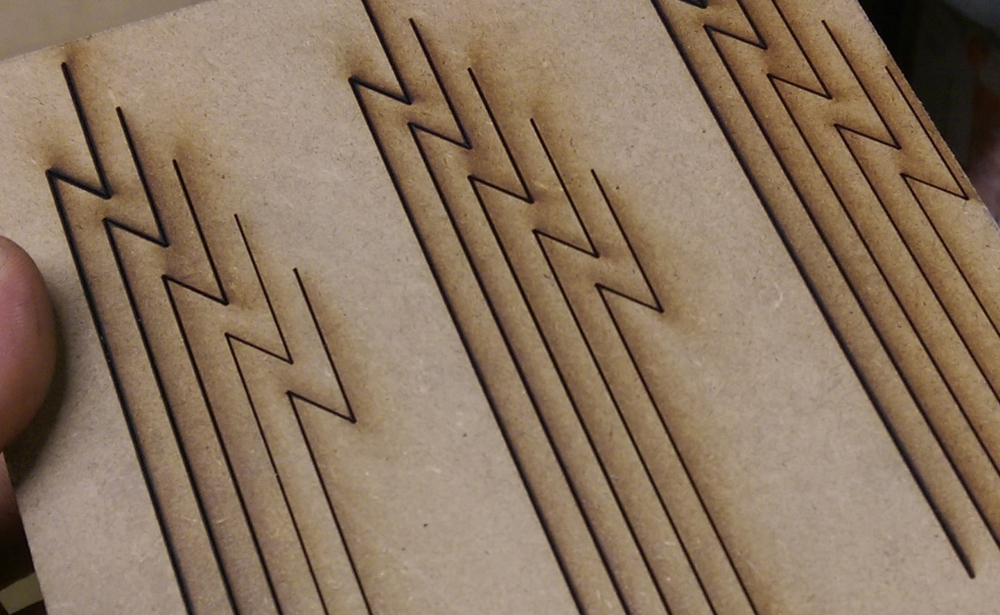 laser cutting of MDF up close