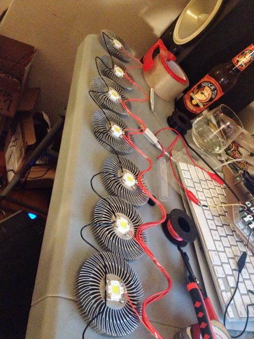 Eight LEDs wired together with heatsinks