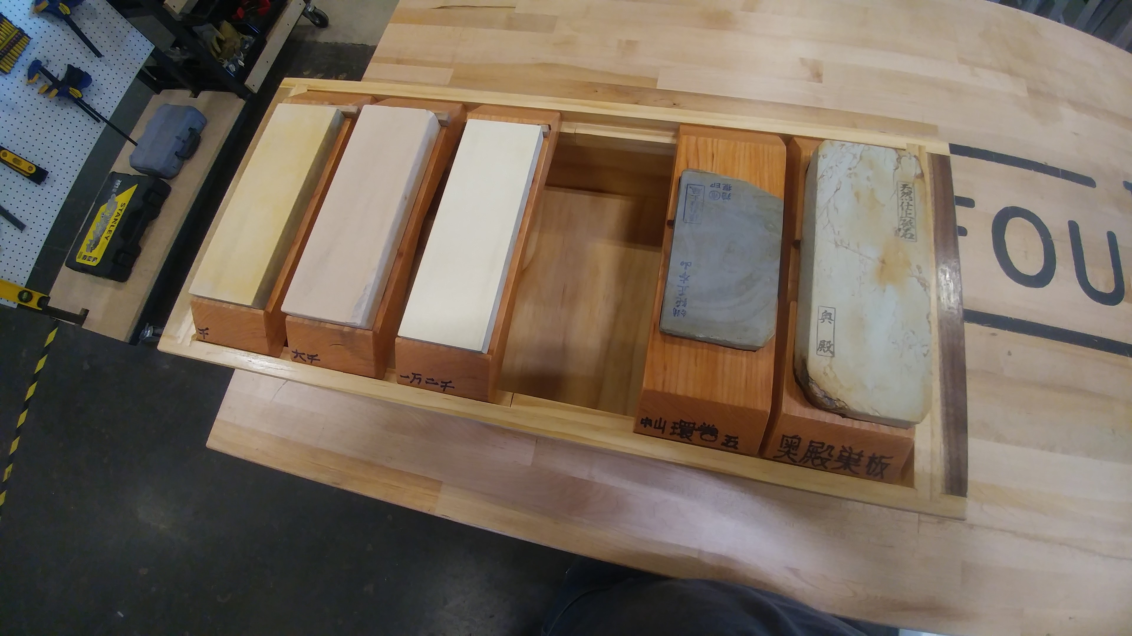 completed Japanese sharpening stone holder