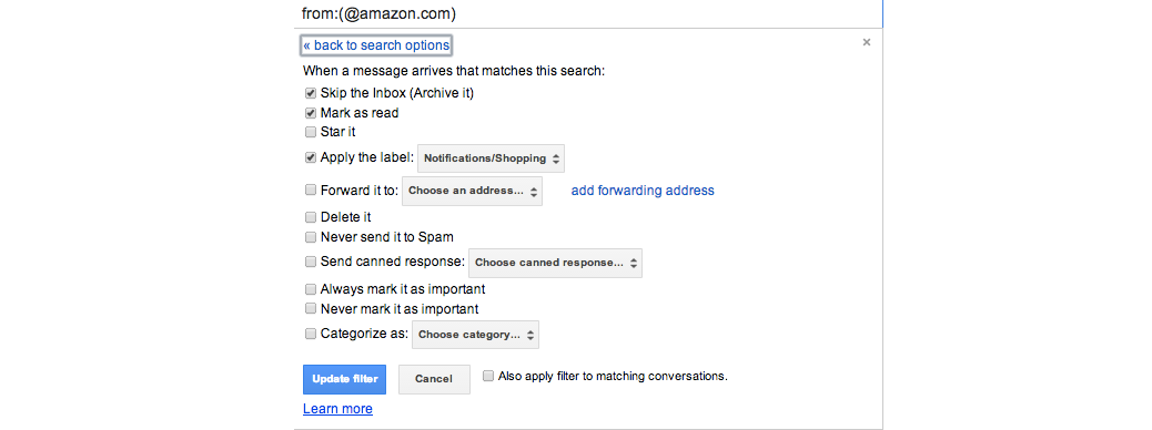 A gMail filter rule for Amazon
