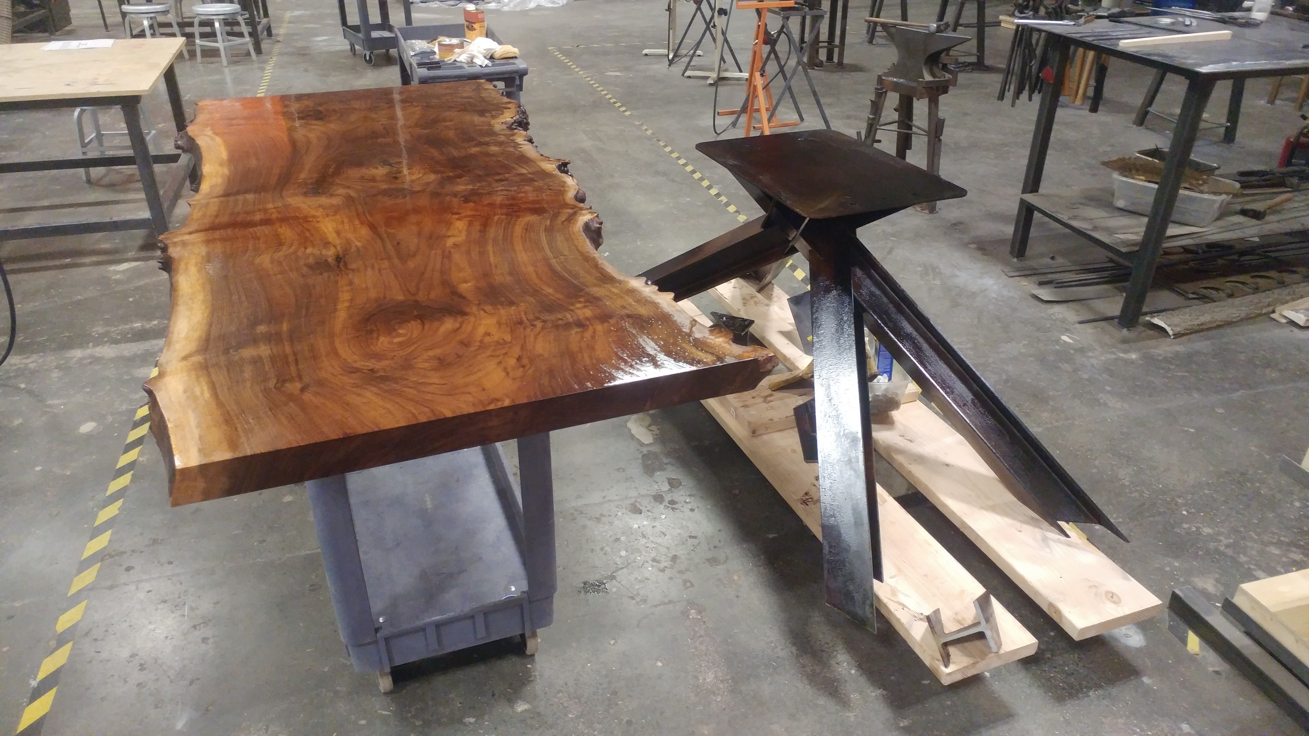 The two halves of the table project about to come together